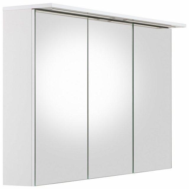 Spiegel - Schildmeyer Spiegelschrank »Profil 16« Breite 120 cm, 3 türig, 2x eingelassene LED Beleuchtung, Schalter Steckdosenbox, Glaseinlegeböden, Made in Germany  - Onlineshop OTTO