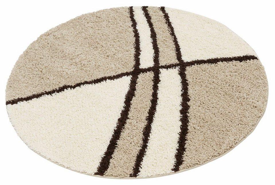 Hochflor-Teppich, rund, my home, »Alessandria«, Höhe 30 mm, gewebt in beige