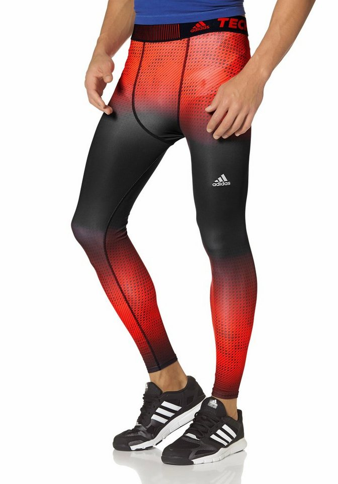 adidas Performance TECHFIT BASE WARM LONG TIGHT Funktionstights in Rot-Schwarz