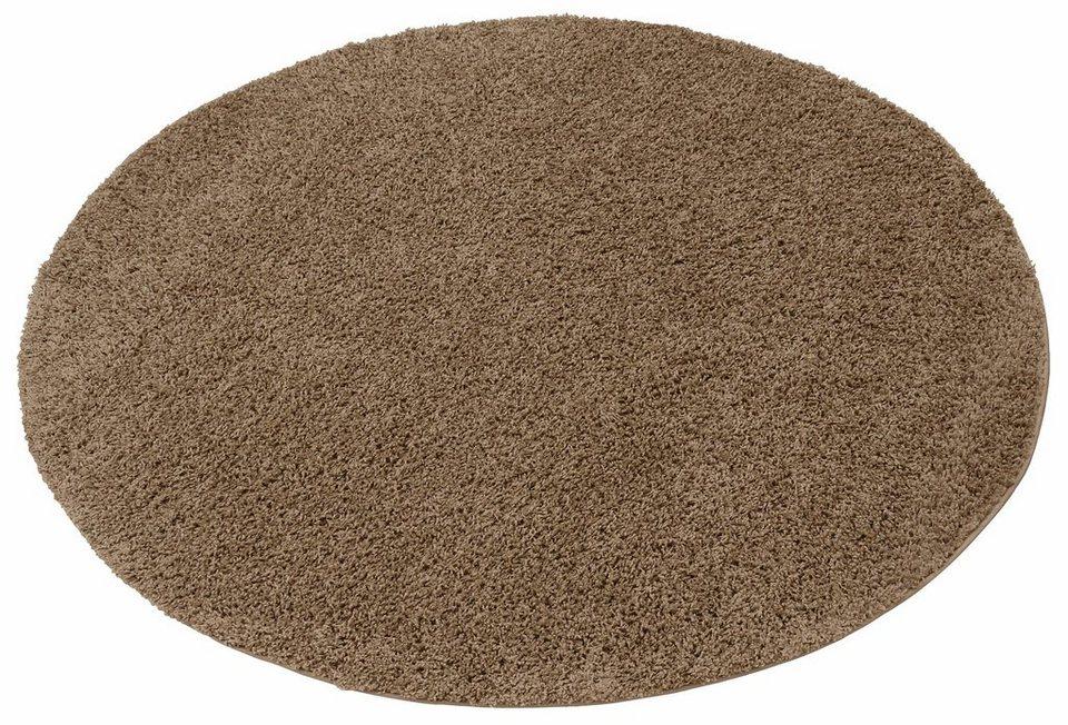 Hochflor-Teppich, rund, my home, »Bentley«, Höhe 30mm, gewebt in sand