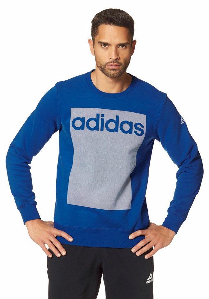 adidas Performance ESSENTIALS LINEAR 3S CREW FLEECE Sweatshirt in Blau