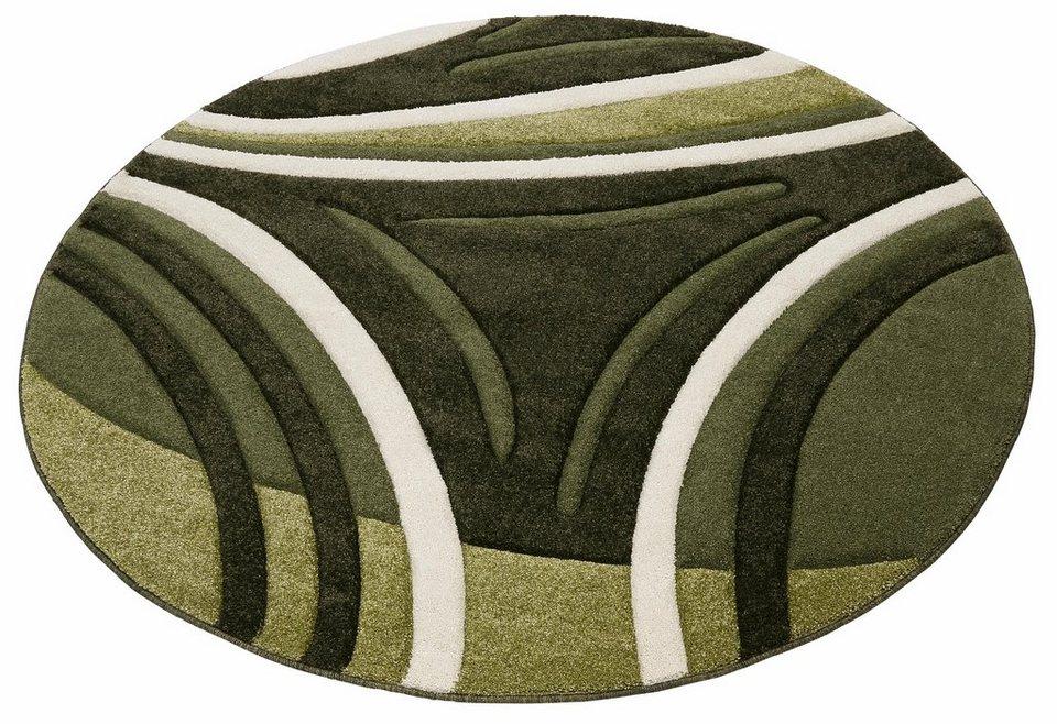 Teppich, rund, my home, »David«, handgearbeiteter Konturenschnitt, gewebt in grün