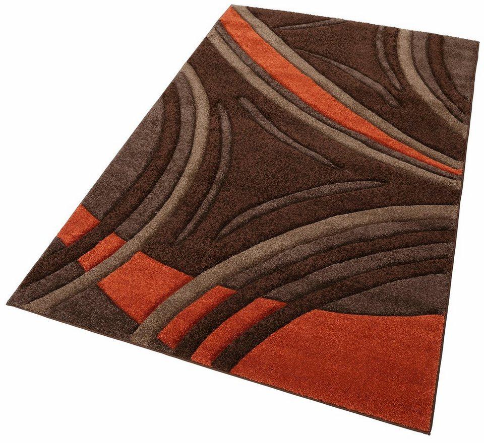 Teppich dunkelbraun  Teppich »David«, my home, rechteckig, Höhe 20 mm, Hoch-Tief-Effekt ...