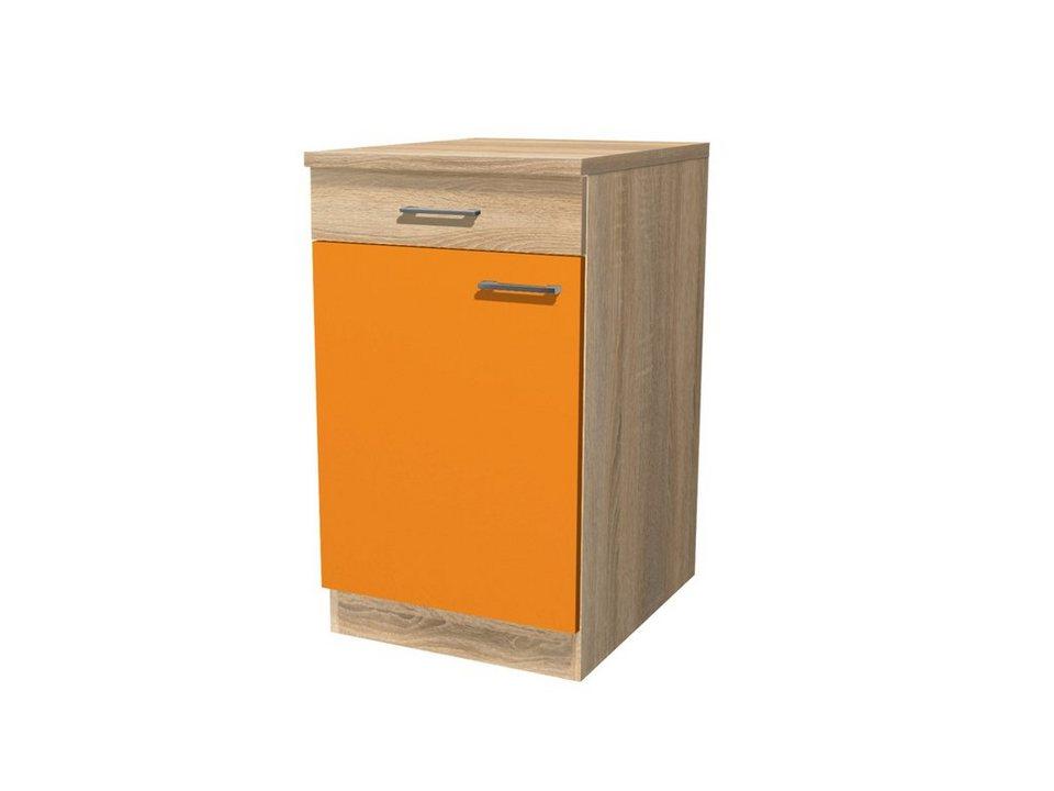 Küchenunterschrank »Rio«, Breite 50 cm,inkl. 2. Frontensatz in weiß gratis dazu in eichefarben/orange