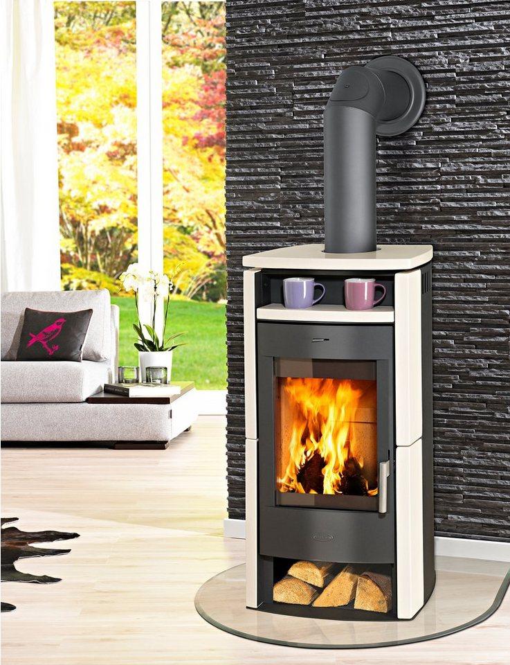 Kaminofen »Paris«, Kachel beige,6 kW Panoramasichtscheibe, Fireplace in natur