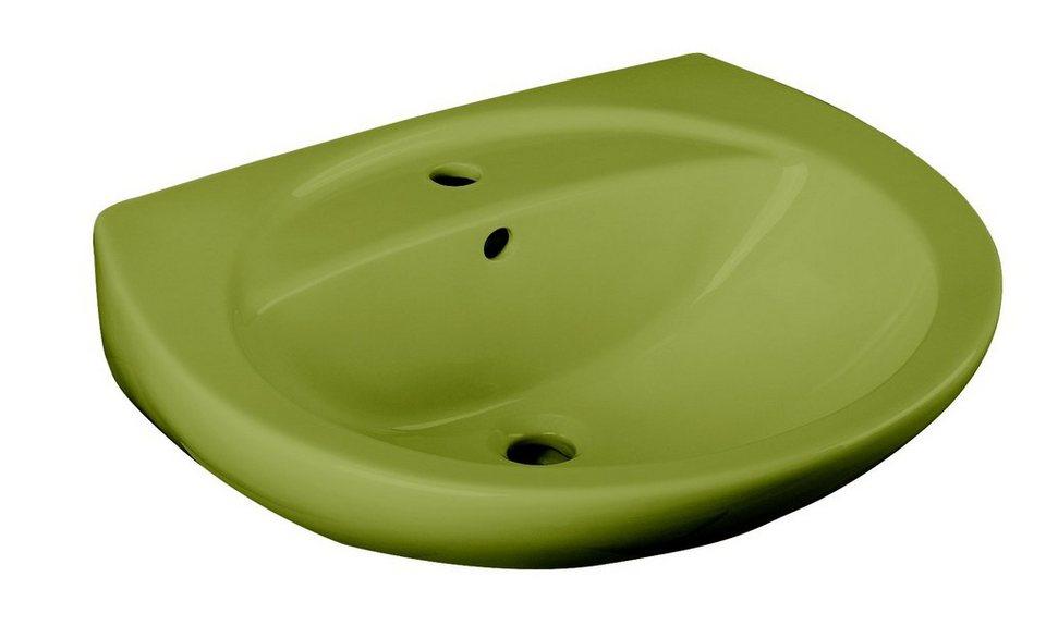 Keramik Waschbecken / Waschtisch »Moosgrün« 59,5 cm