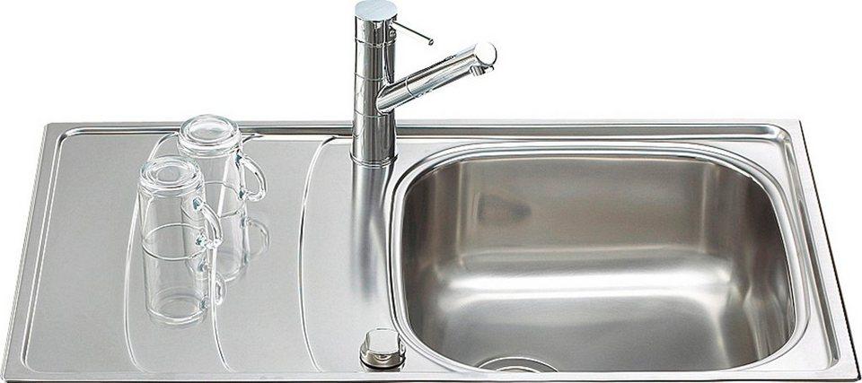 Edelstahlspüle »Design, ohne Restebecken, 86x50 cm« in silberfarben