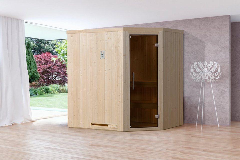 Sauna »Lyngdal 2 Trend Plus BioS«, 192/141/199 cm, 68 mm, 7,5-KW-Bio-Kombiofen in natur