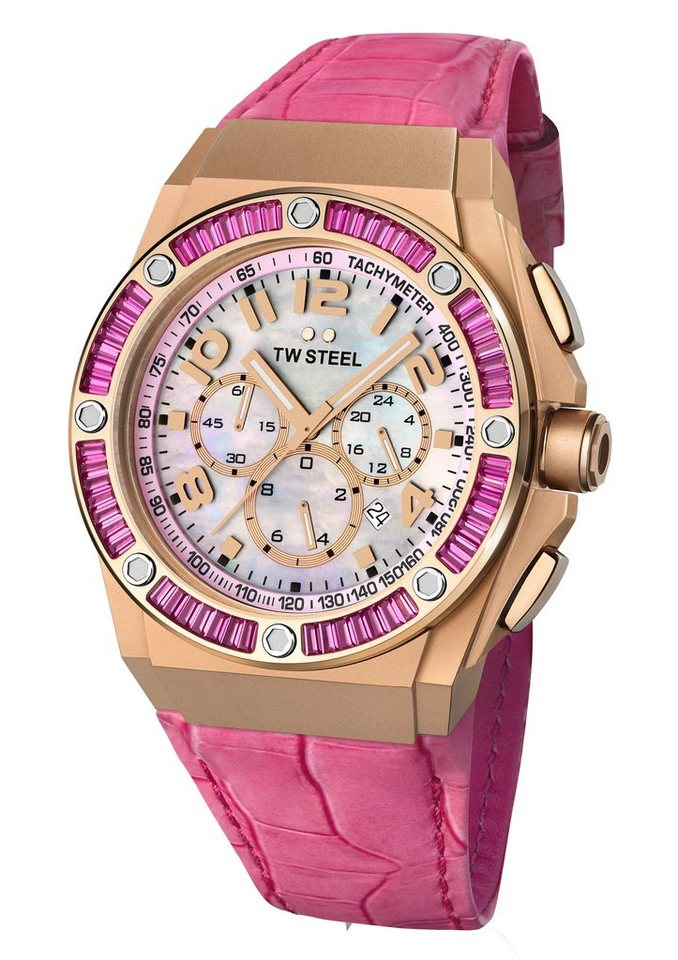 TW Steel Chronograph »CEO-TECH Kelly Rowland, TWCE-4006« mit echtem Perlmuttzifferblatt in pink