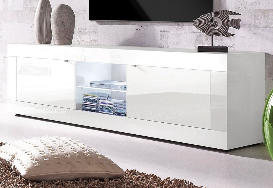 LC Lowboard, Breite 181 cm in weiß Lack