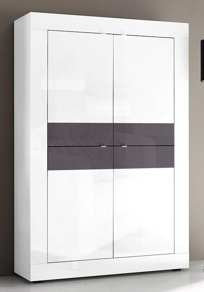 LC Highboard, Breite 102 cm in weiß Lack / anthrazit Lack
