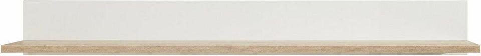 Wandbord, Breite 180 cm in weiß / eichefarben sägerau