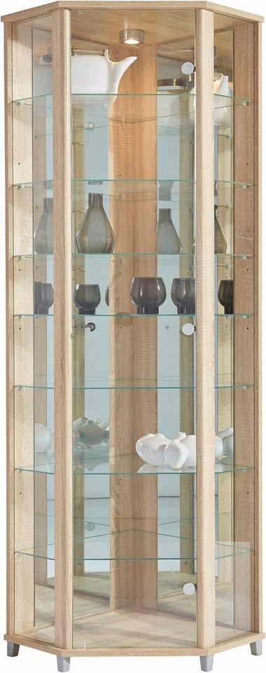 Eckvitrine, Höhe 172 cm, 7 Glasböden in eichefarben sägerau