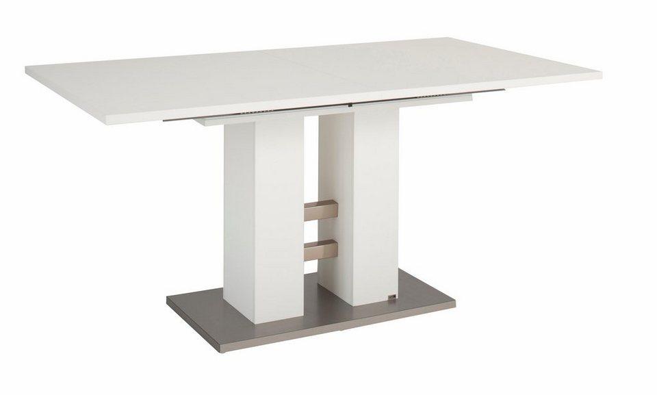set one by Musterring Säulen-Kulissentisch mit Auszugsfunktion »Reno«, Breite 160 cm in weiß/weiß