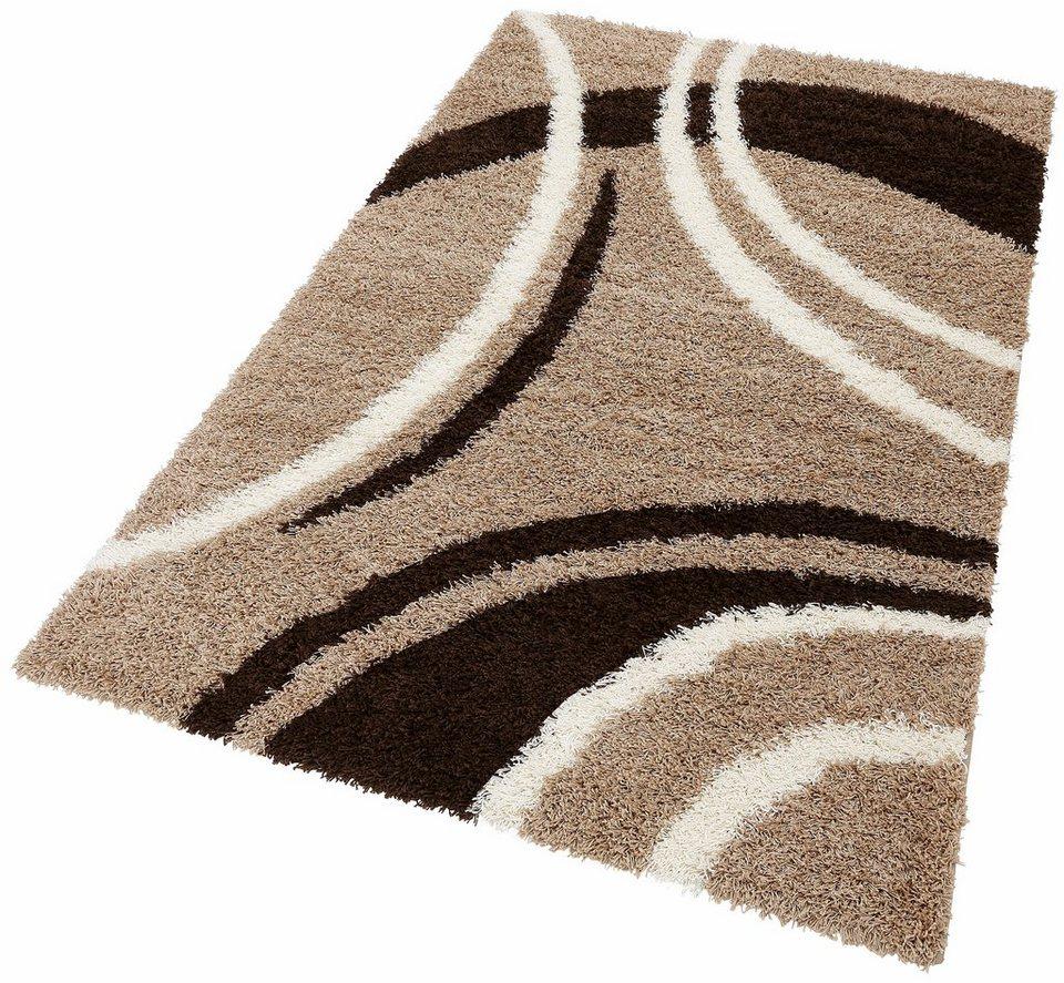 Hochflor-Teppich, Lalee, »Joy 104«, Höhe ca. 40mm, gewebt in Braun