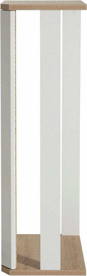 Eckelement, Höhe 135 cm in weiß / eichefarben sägerau