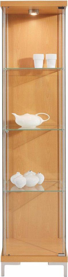 Vitrine, 1-türig mit 3 Glasböden in buchefarben