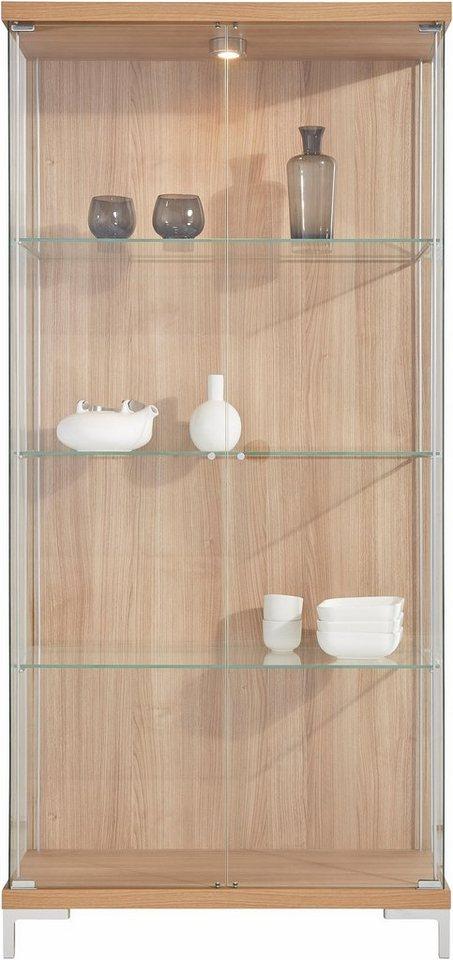 Vitrine, 2-türig, Höhe 173 cm, 3 Glasböden in nocefarben