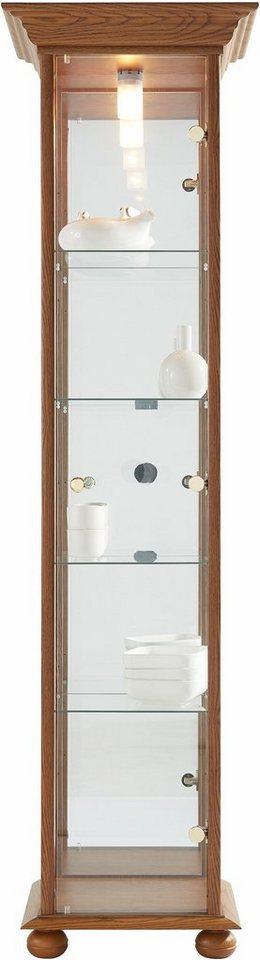 Vitrine, 1-türig, Höhe 178 cm, 4 Glasböden in eichefarben dunkel