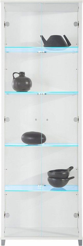 Vitrine, 2-türig, Höhe 172 cm, 4 Glasböden in weiß