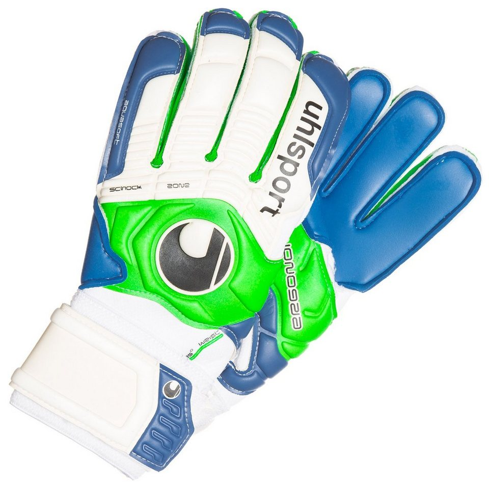 UHLSPORT Ergonomic Aquasoft Torwarthandschuh in pazifik/grün/weiß