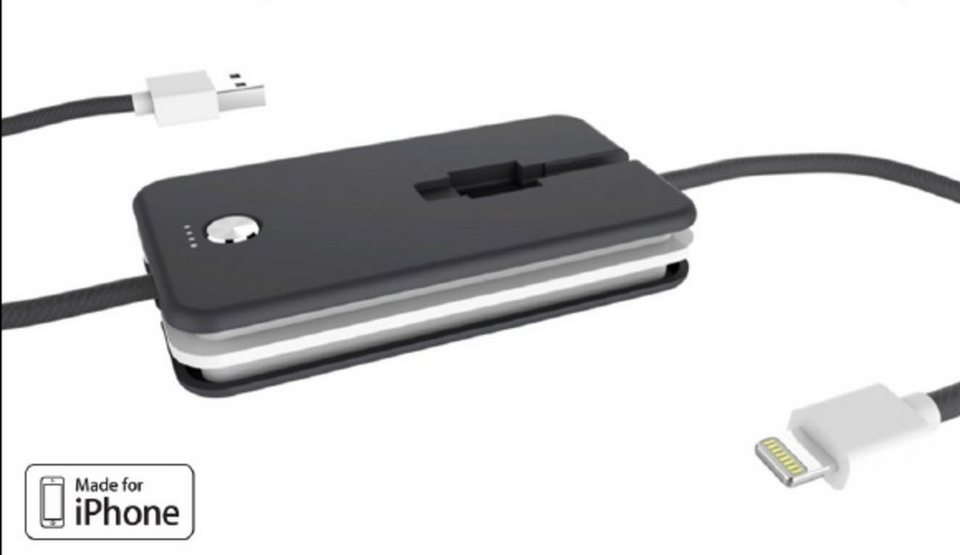 Xtorm Mobile Power »- Apple Lightning Kabel incl. Notstrom (1.200 mAh)« in Schwarz-Weiß