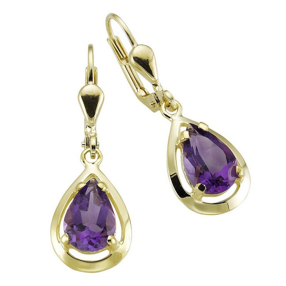 Fascination by Ellen K. Ohrhänger »333/- Gelbgold Amethyst« in gelb