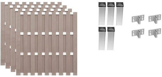T&J Bohlenzaun »Jersey 2«, (Set), 4 Elemente, LxH: 755x180 cm