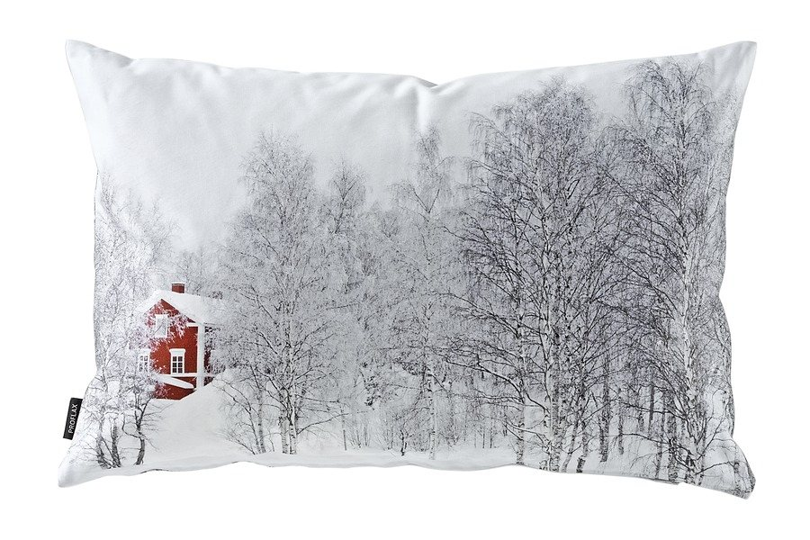 Kissenhülle in weiß/rot