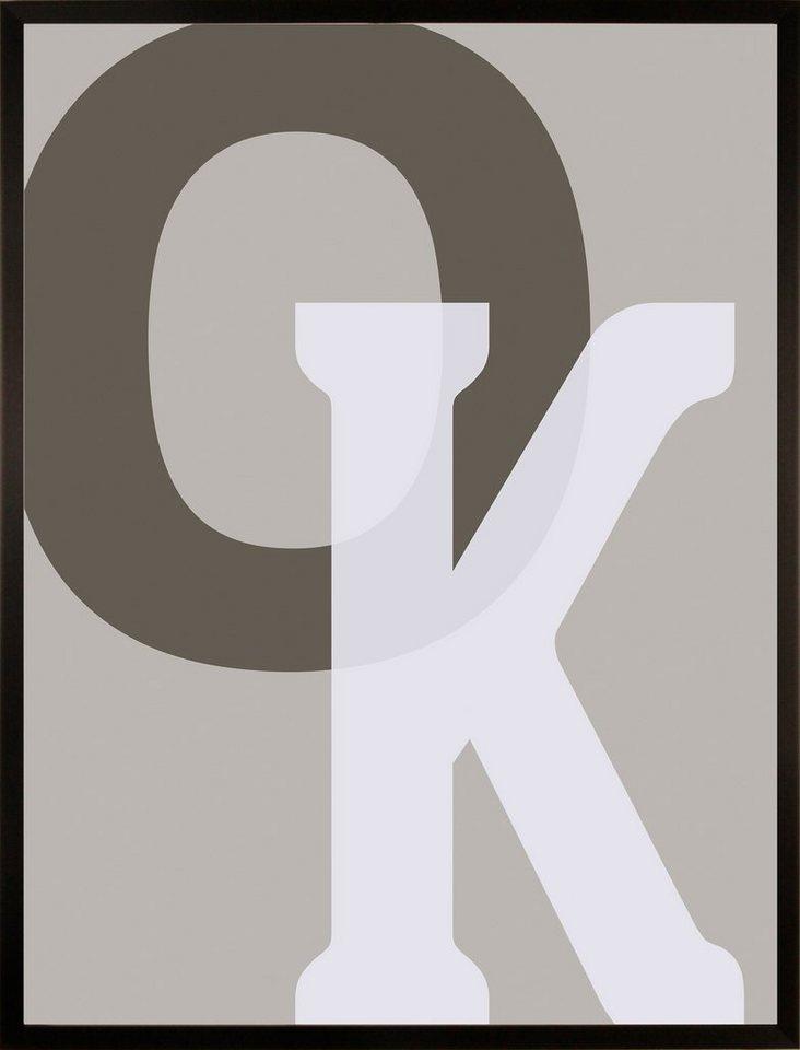 Home affaire gerahmter Kunstdruck »OK«, 33/43 cm in naturfarben