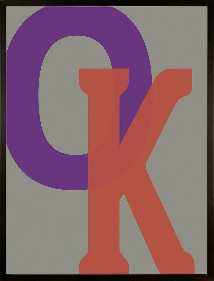 Home affaire gerahmter Kunstdruck »OK«, 33/43 cm in bunt