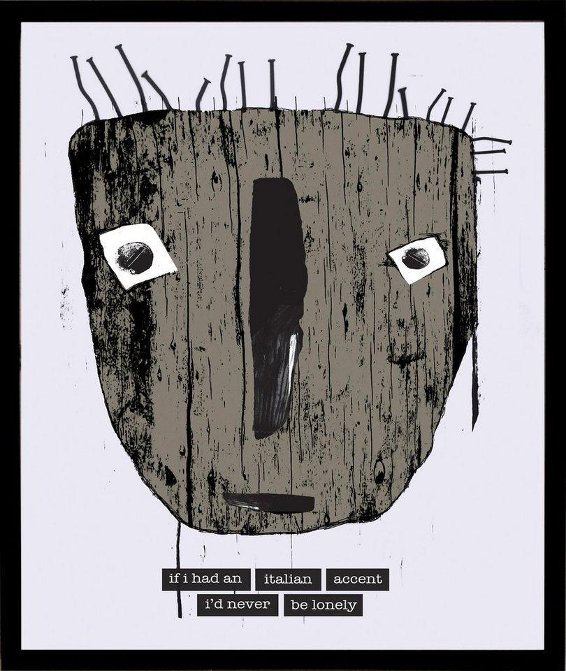 Home affaire gerahmter Kunstdruck »Maske mit italienischen Reflexionen«, 33/43 cm in weiß/grau