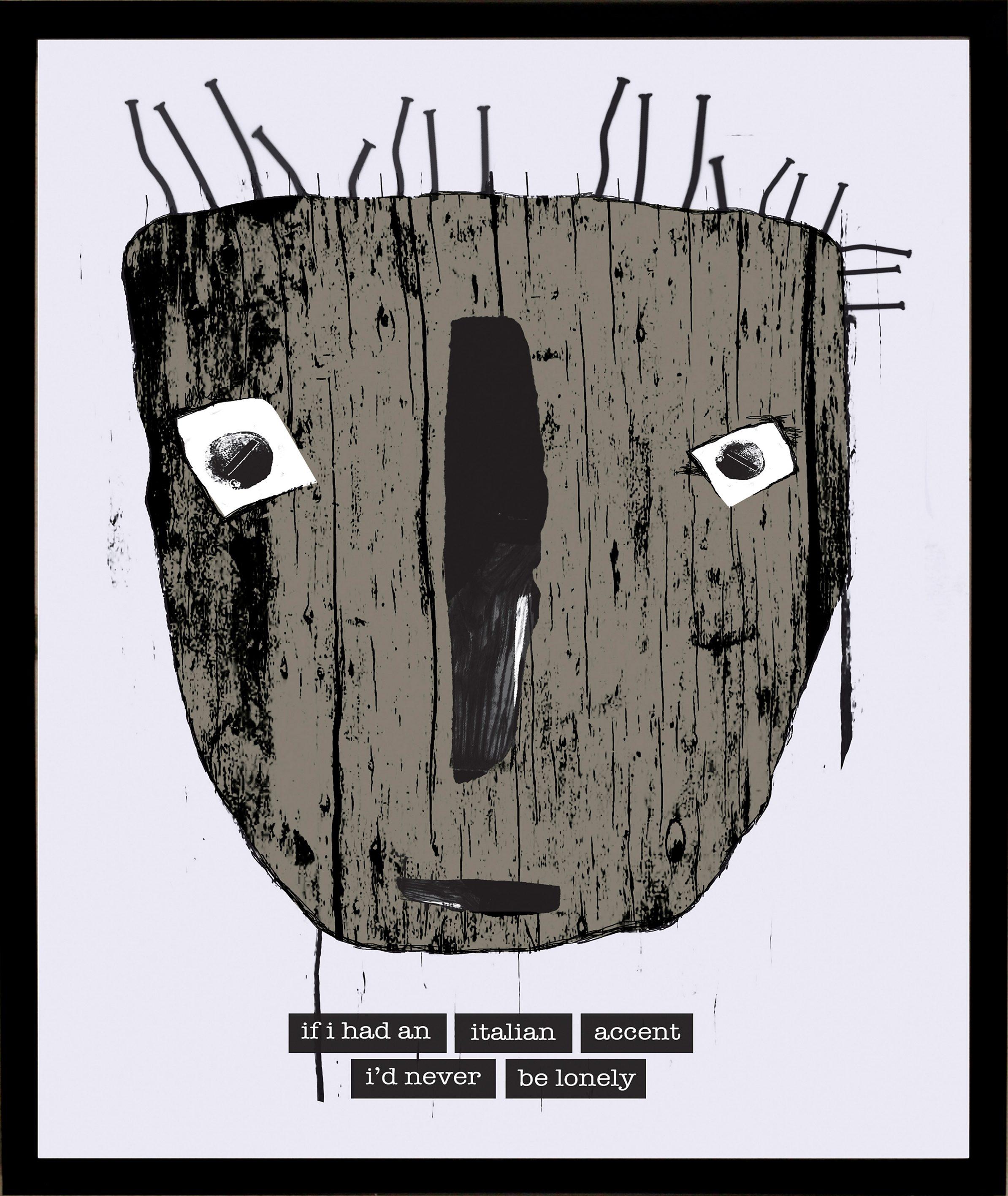 Home affaire gerahmter Kunstdruck »Maske mit italienischen Reflexionen«, 33/43 cm