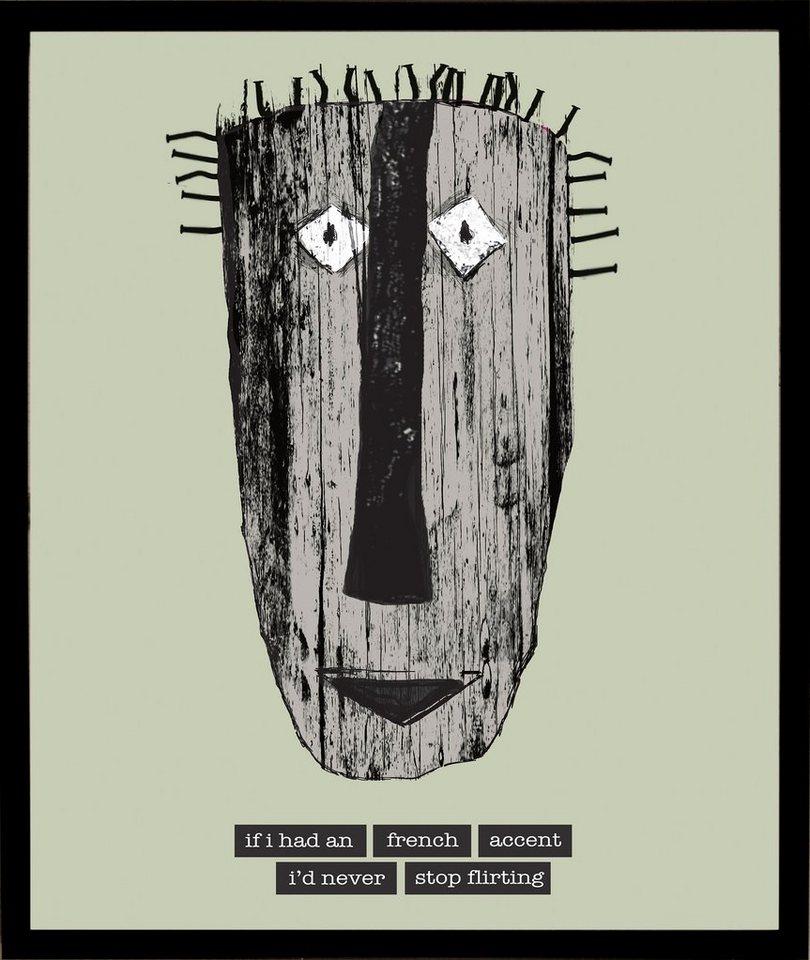 Home affaire gerahmter Kunstdruck »Maske mit französischen Reflexionen«, 33/43 cm in grün/grau