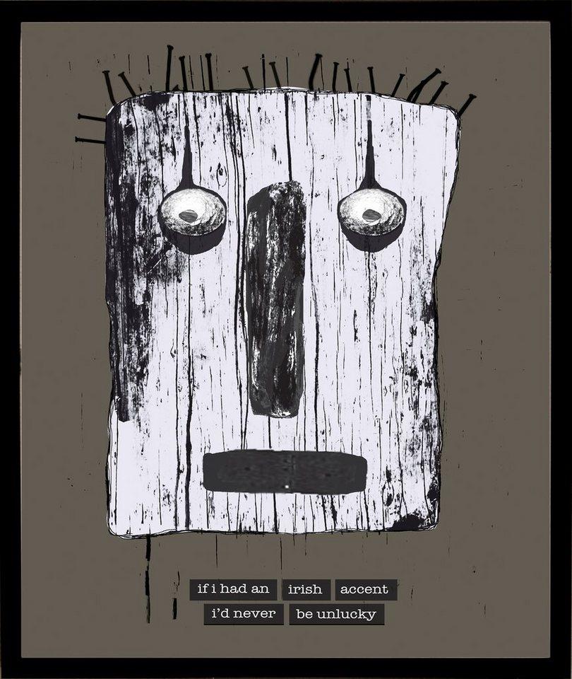 Home affaire gerahmter Kunstdruck »Maske mit irischen Reflexionen«, 33/43 cm in grau/weiß