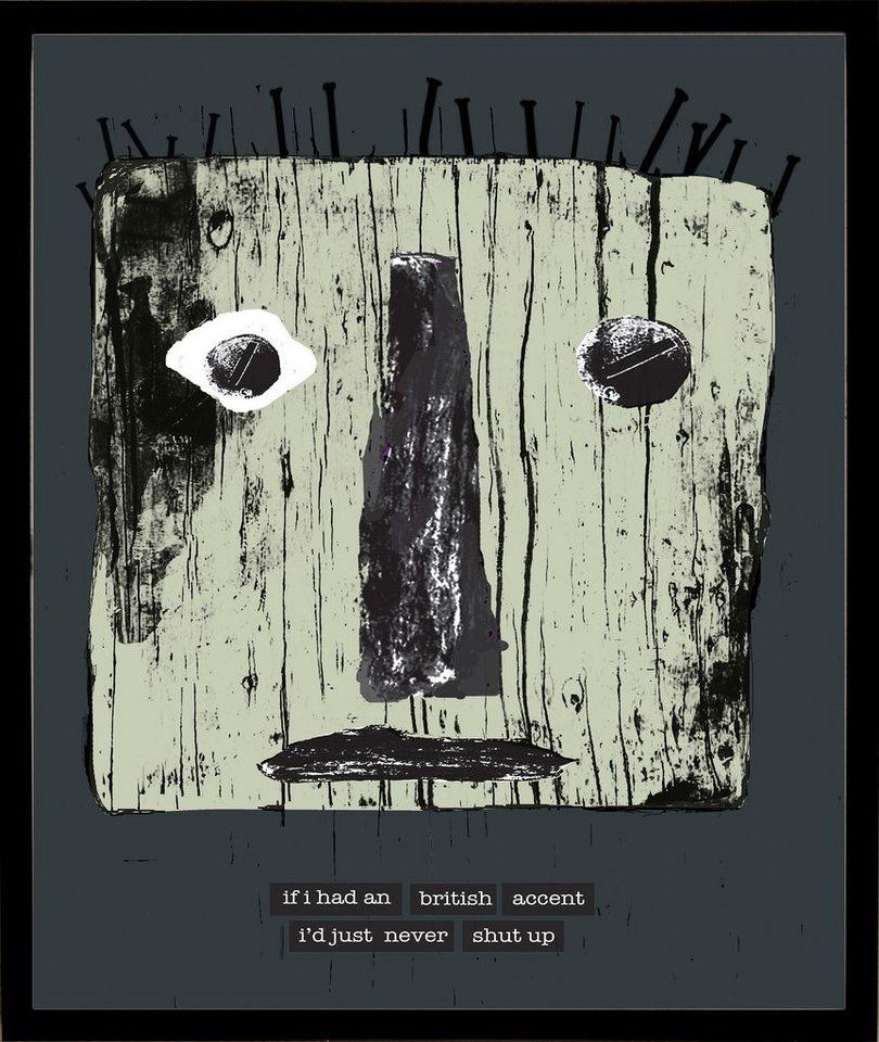 Home affaire gerahmter Kunstdruck »Maske mit britischen Reflexionen«, 33/43 cm in grau/grün