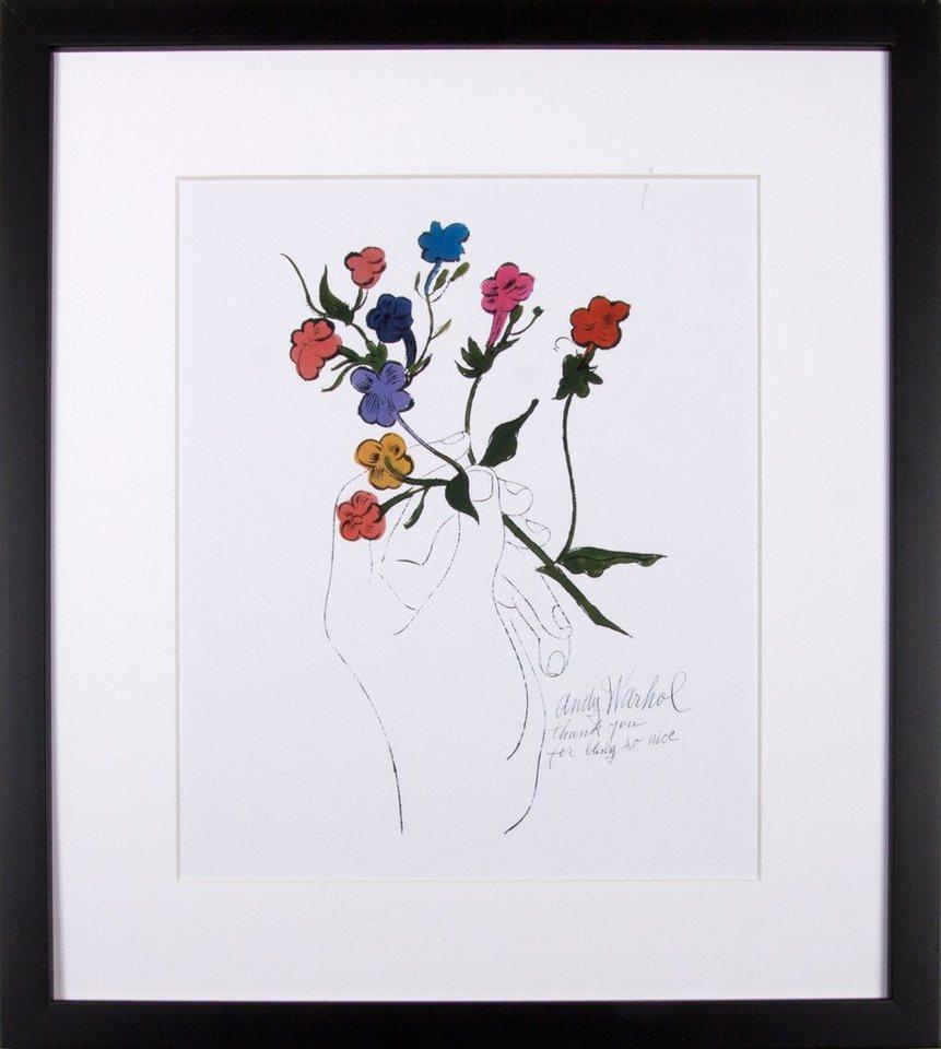 G&C gerahmter Kunstdruck Andy Warhol, »Bunter Blütenstiel«, 33/43 in weiß/bunt
