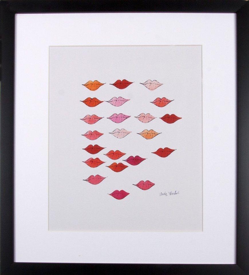G&C gerahmter Kunstdruck Andy Warhol, »Schöne rote Lippen«, 33/43 in weiß/rot