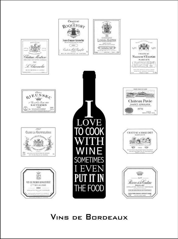 Home affaire gerahmter Kunstdruck »Wein aus Bordeaux« Statement, 33/43 cm in schwarz/weiß