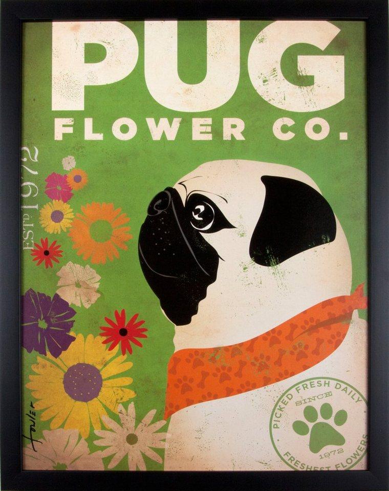 Home affaire gerahmter Kunstdruck »Happy Pug«, 33/43 cm in grün