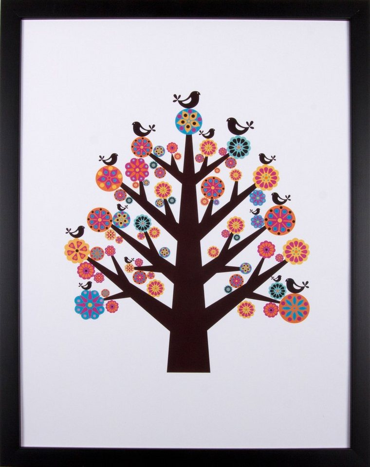 Home affaire gerahmter Kunstdruck »Vogel-Baum«, 33/43 cm in bunt