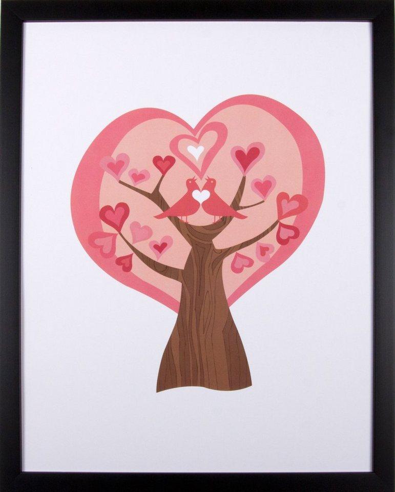Home affaire gerahmter Kunstdruck »Liebesbaum«, 33/43 cm in rosa/weiß