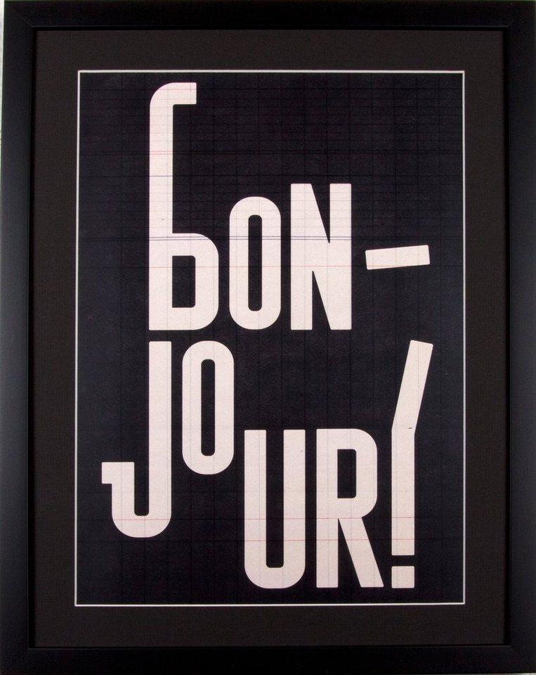 Home affaire gerahmter Kunstdruck »Bon Jour«, 43/53 cm in schwarz/weiß