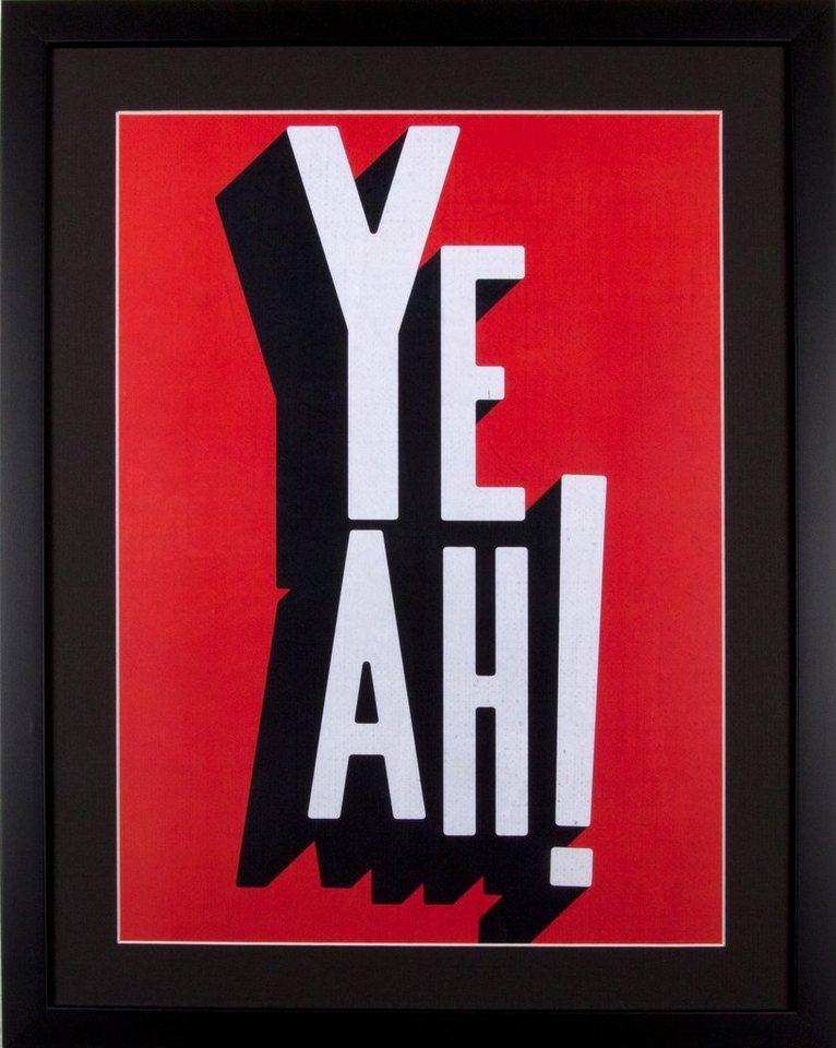 Home affaire gerahmter Kunstdruck »YEAH«, 43/53 cm in schwarz/weiß/rot
