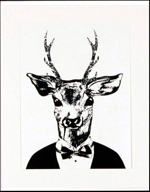 Home affaire gerahmter Kunstdruck »Reh im eleganten Anzug«, 33/43 cm in schwarz/weiß