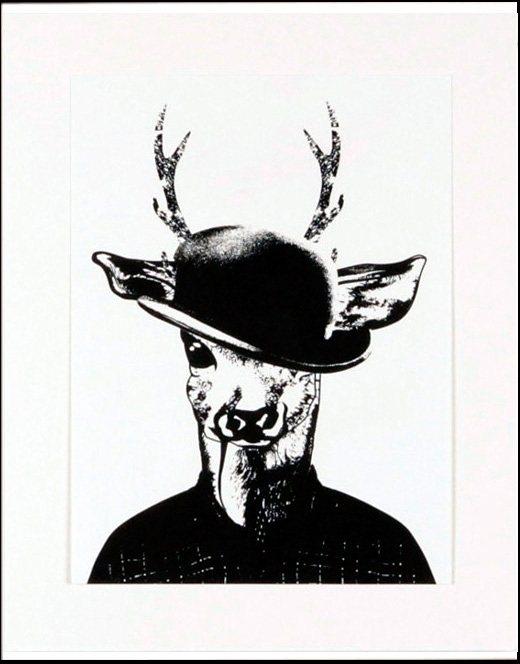 Home affaire gerahmter Kunstdruck »Reh in Spaziergang-Kleidung«, 33/43 cm in schwarz/weiß