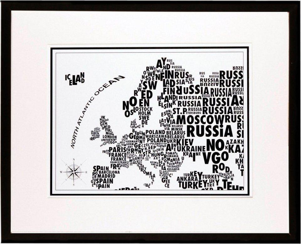 Home affaire gerahmter Kunstdruck »Europa-Schrift«, 53/43 cm in schwarz/weiß