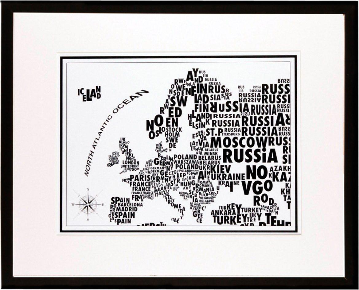 Home affaire gerahmter Kunstdruck »Europa-Schrift«, 53/43 cm