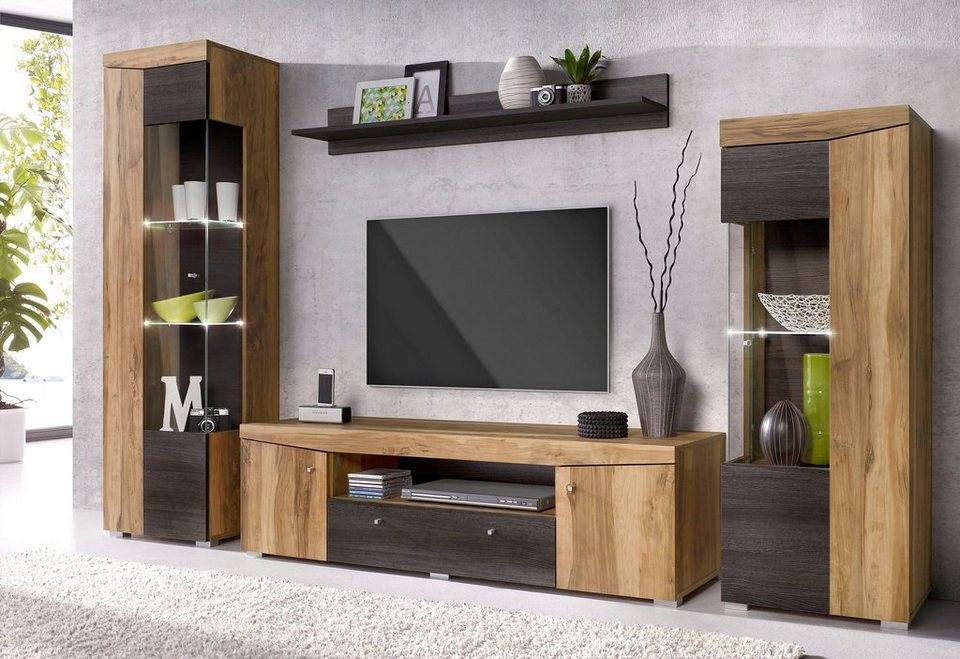 holz wohnwand style. Black Bedroom Furniture Sets. Home Design Ideas