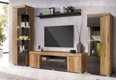 wohnwand echtholz g nstig. Black Bedroom Furniture Sets. Home Design Ideas